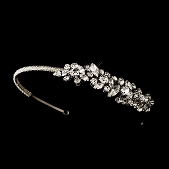Antique Silver Clear Rhinestone Headpiece Headband 507