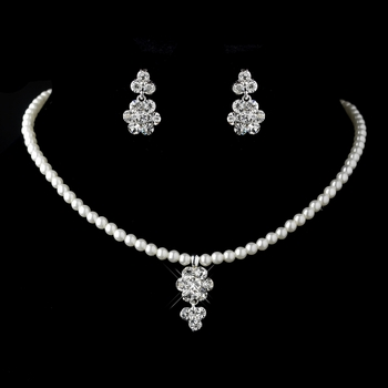Child's Silver Pearl & Rhinestone Necklace & Earrings Jewelry Set 9759
