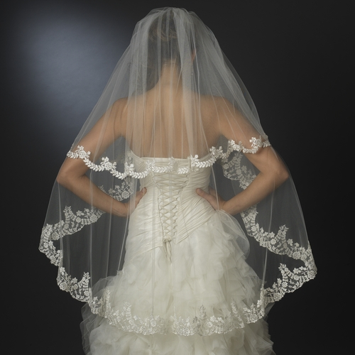 Floral Embroidered Double Layer Edge Veil Fingertip Waltz Length Veil 2043
