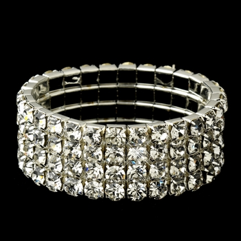 Four Row Rhinestone Covered Stretch Bracelet in Silver 4154