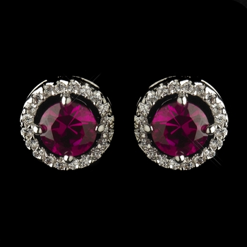 Antique Rhodium Silver Ruby CZ Crystal Round Stud Earrings 2288