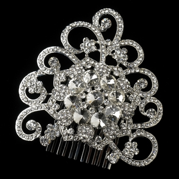Antique Rhodium Vintage Floral Rhinestone Covered Swirl Side Hair Comb in Silver 403