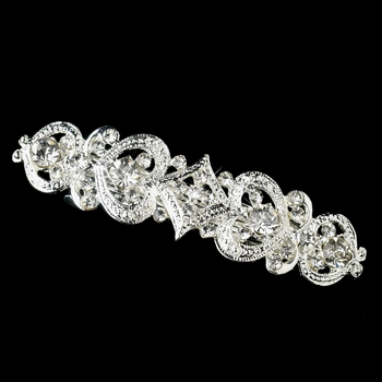 Antique Rhodium Silver Clear Rhinestone Barrette 3275