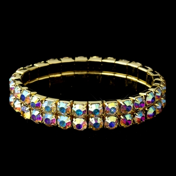 Double Row Aurora Borialis Rhinestone Stretch Bracelet in Gold 4152