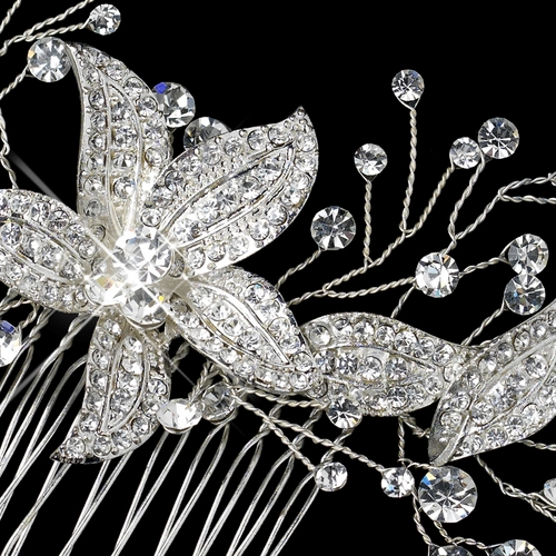 Silver Clear Rhinestone Floral Sprig Hair Comb 9877***Discontinued***