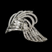 Antique Silver Clear Rhinestone Vintage Deco Style Clip 100