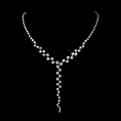 Silver Clear CZ Multi Cut Stone Necklace 8649