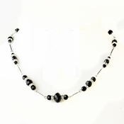 Silver Black Crystal & Rhinestone Necklace 8741