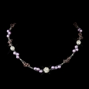 Silver Light Amethyst Pearl w/Clear Crystal Necklace 8751 * 1 Left *