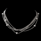 Vintage Cubic Zirconia Multi Silver Clear Necklace N 8913