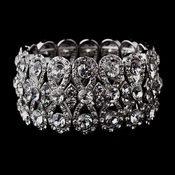 Glitzy Silver Bowtie Stretch Bracelet w/ Clear Crystals 8699***Discontinued***
