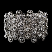 Striking Antique Silver Stretch Cuff Bracelet w/ Clear Crystals 8704