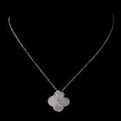 Chic Silver Micro Pave Clover Necklace 8640