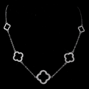 Alluring Antique Silver Designer Inspired Clover Necklace 8715
