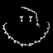 Silver White 3 Piece Butterfly Jewelry Set 2875 ** Discontinued**