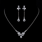 Silver Clear Earrings 9953***Necklace Discontinued***