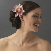 Realistic Looking Bridal Orchid Flower Hair Clip - Clip 400 Pink***Discontinued***