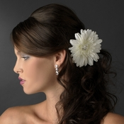 Diamond White Starburst Dahlia Flower Hair Clip with Clip Brooch  - Clip 422
