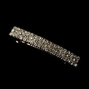 Striking Large Gold Hair Barrette w/ Clear Rhinestones