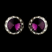 Silver Clear and Amethyst Center Stone Clip On Rhinestone Earring E 4722