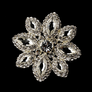 * Silver Clear Thinestone Brooch 139