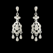 * Striking Silver Clear Rhinestone Chandelier Earrings 5001