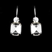 Silver Clear Rhinestone Square Princess Cut Earring 25154