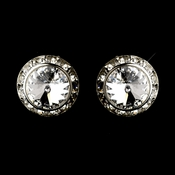 Silver Clear Rhinestone Clip On Earrings E 4722