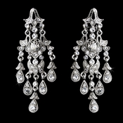 Silver Clear Rhinestone Clip On Bridal Earrings 8457