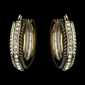 Silver Clear w/ Gold Trim Earrings 7951