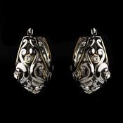 Silver Clear w/ Gold Trim Earrings 7956