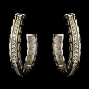 Silver Clear w/ Gold Trim Earrings 7959