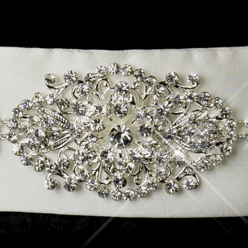 Modern Silver-Plated Rhinestone Flowers on Ribbon Sash Belt 107