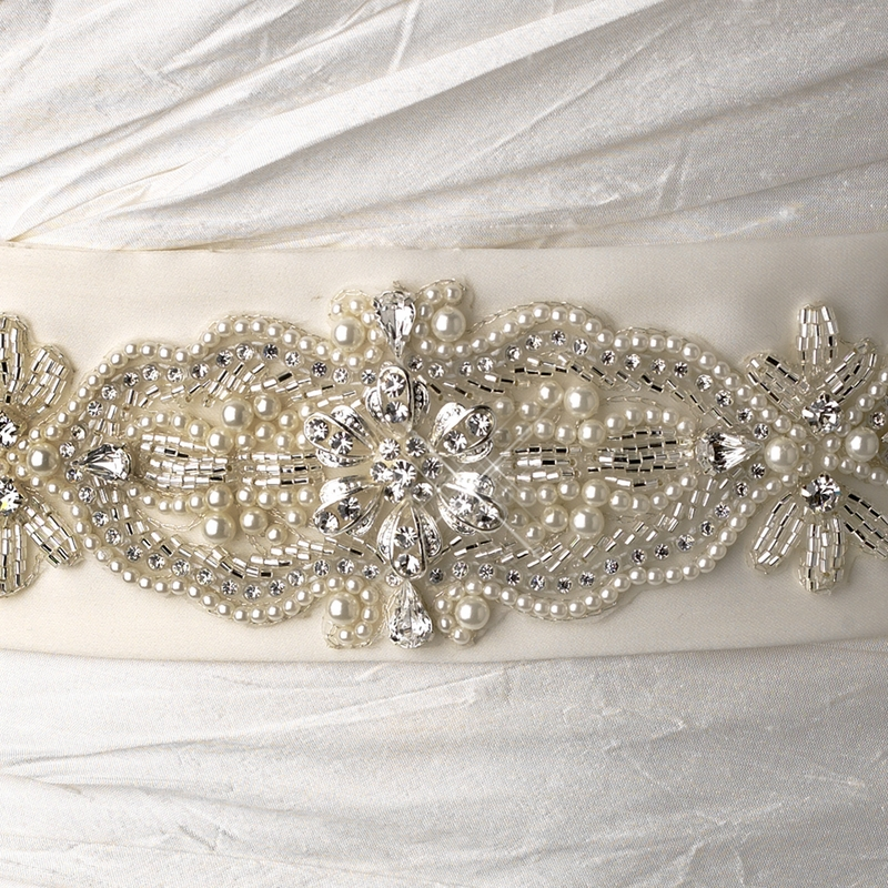 Wedding Gowns With Sashes: Bead Pearl & Rhinestone Accented Bridal Belt Sash