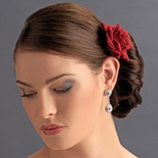 Red Rose Hair Clip for Bridal Wedding Day - Clip 401 Red