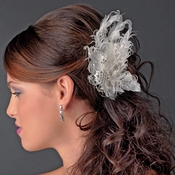 Fabulous White or Ivory Feather Bridal Hair Clip or Clip Brooch w/ Silver Clear Rhinestones 458
