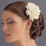 Ivory Gardenia Cluster Bridal Hair Flower on Clip 411 with Brooch Pin