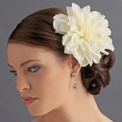 Elegant Bridal Cream Dahlia Flower Hair Clip - Clip 418