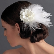 * Flower Feather Fascinator Bridal Hair Clip 421 with Brooch Pin