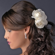 Elegant Double Rose Flower Hair Clip 427 with Brooch Pin