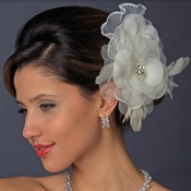 * Floral Rhinestone Bridal Feather Fascinator Hair Clip 475