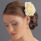 * Classic Butter Cream Rose Bridal Flower Hair Clip - Clip 408