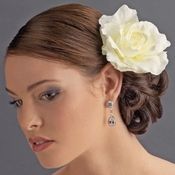 Classic Ravish Diamond White Rose Flower Hair Clip - Clip 416