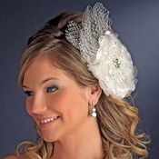 * Couture Rhinestone Flower Hair Clip with Russian Tulle 9855