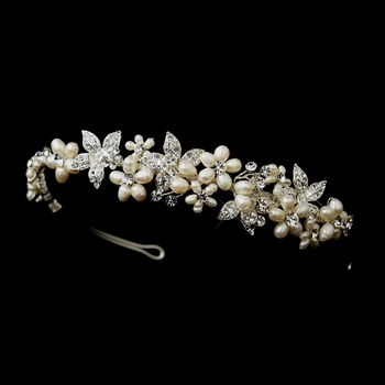Silver Ivory Pearl & Clear Rhinestone Floral Side Accented Bridal Headpiece 1125