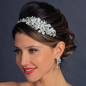 Silver Ivory Pearl & Crystal Flower Side Accented Headband Headpiece 963