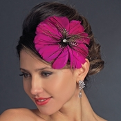 * Fuchsia Peacock Feather Side Accented Headband Headpiece 954