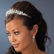 Porcelain Flower Accented Bridal Tiara HP 4429 Silver