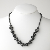 Black Flower Necklace 7617