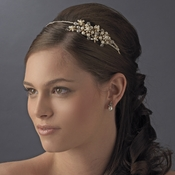 Gold and Pearl Side Accented Floral Headband HP 3040
